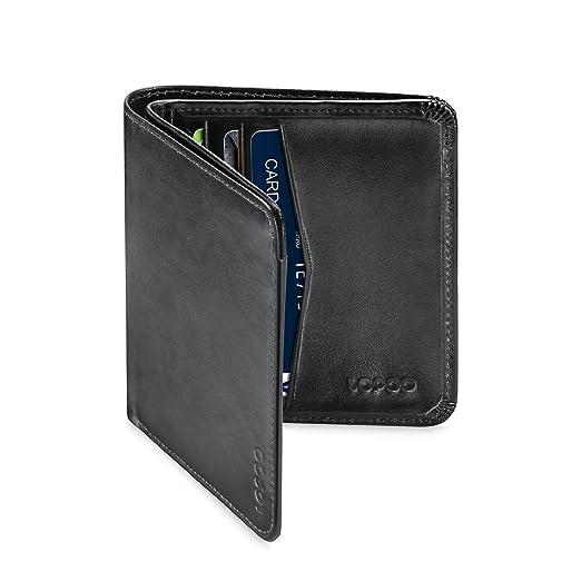13 opinioni per LOPOO Genuine Leather Portafogli RFID Blocco 8 Tasca con Finestra (Liscio Nero)