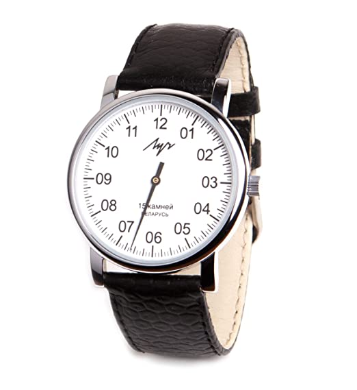 Review One Hand Luch Mechanical Wristwatch Men's leather Vintage White 77471760 RUS