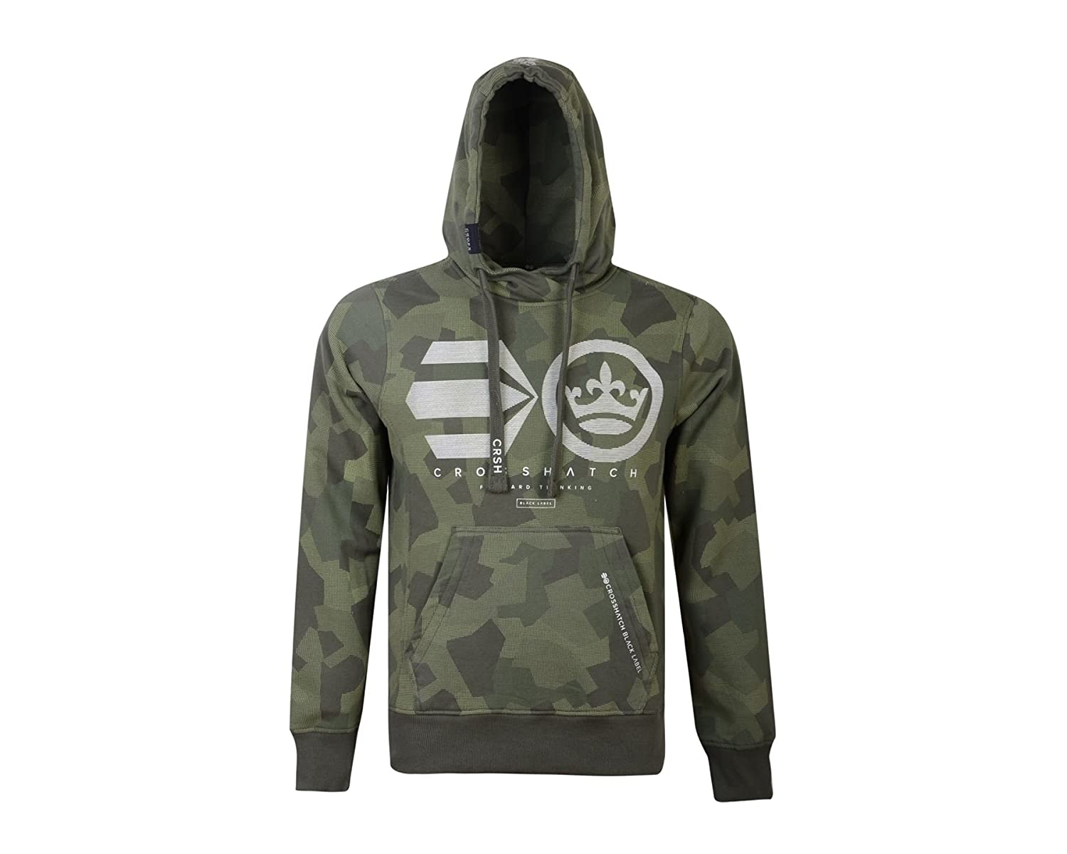 Mens Hoodie Crosshatch Logocamo Cotton Hooded Pull Over Sweater