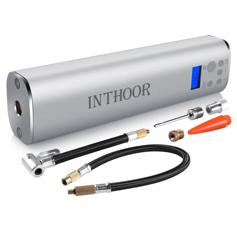 InThoor Compresseur D'air Mini Rechargeable Gonfleur Électrique Pompe pour Voiture et Vélo (à Batterie de Lithium 12V)