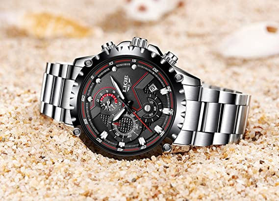 7541abacbe7 Amazon.com  Mens Watches Fashion Sports Quartz Watch Stainless Steel Silver  with Gold Strap Top Brand Luxury Simple Style Business Watch Waterproof 30M  ...