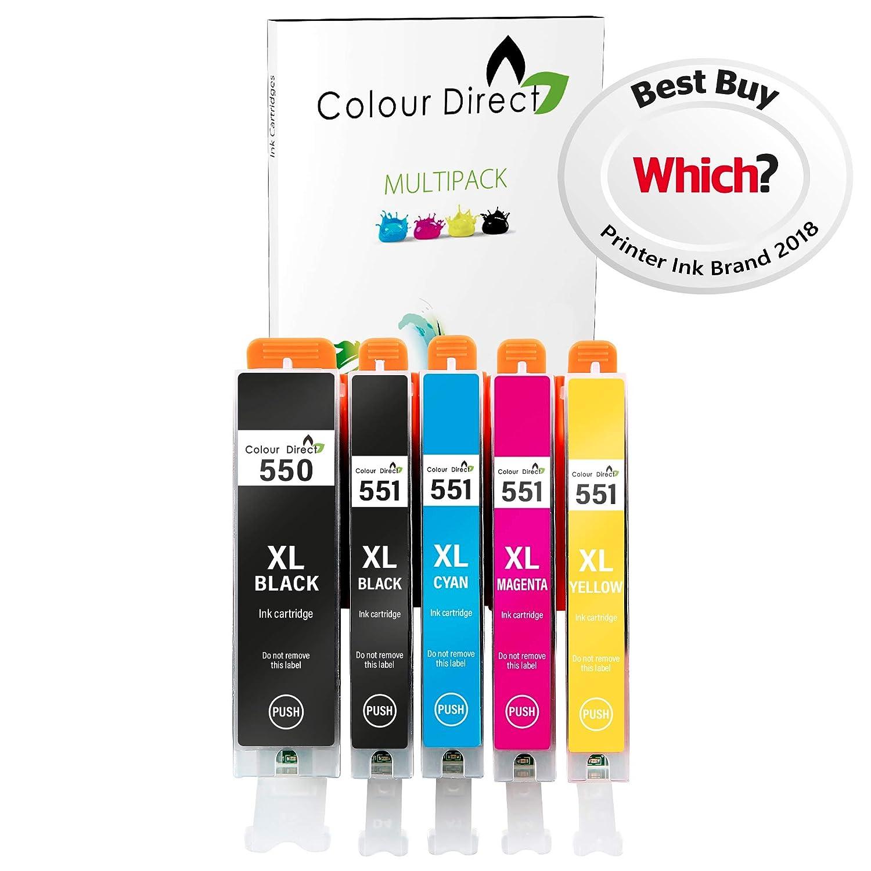 5 XL Color Directo CLI-551XL/ PGI-550XL cartuchos de tinta compatibles para Canon Pixma MG5450 MG5550 MG6350 MG6450 MX725 MX925 IP7150 iP7250 ...