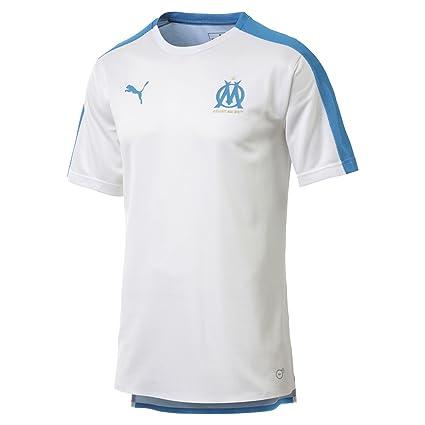 b7193a8d9e PUMA Maillot Olympique de Marseille Stadium pour Homme Puma White-Bleu Azur  XS