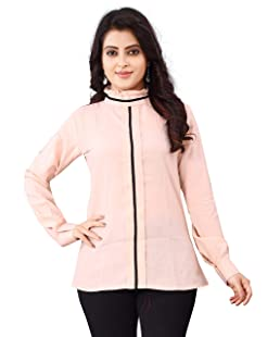 Leriya Fashion Women's Plain Regular fit Top (LF-W1177-M_Pink_Medium)