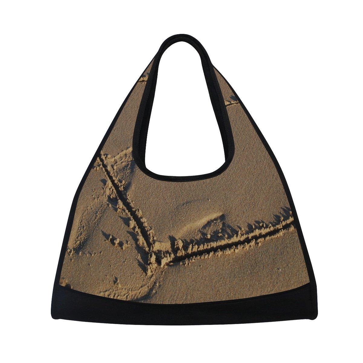AHOMY Canvas Sports Gym Bag Beach Love Heart Travel Shoulder Bag