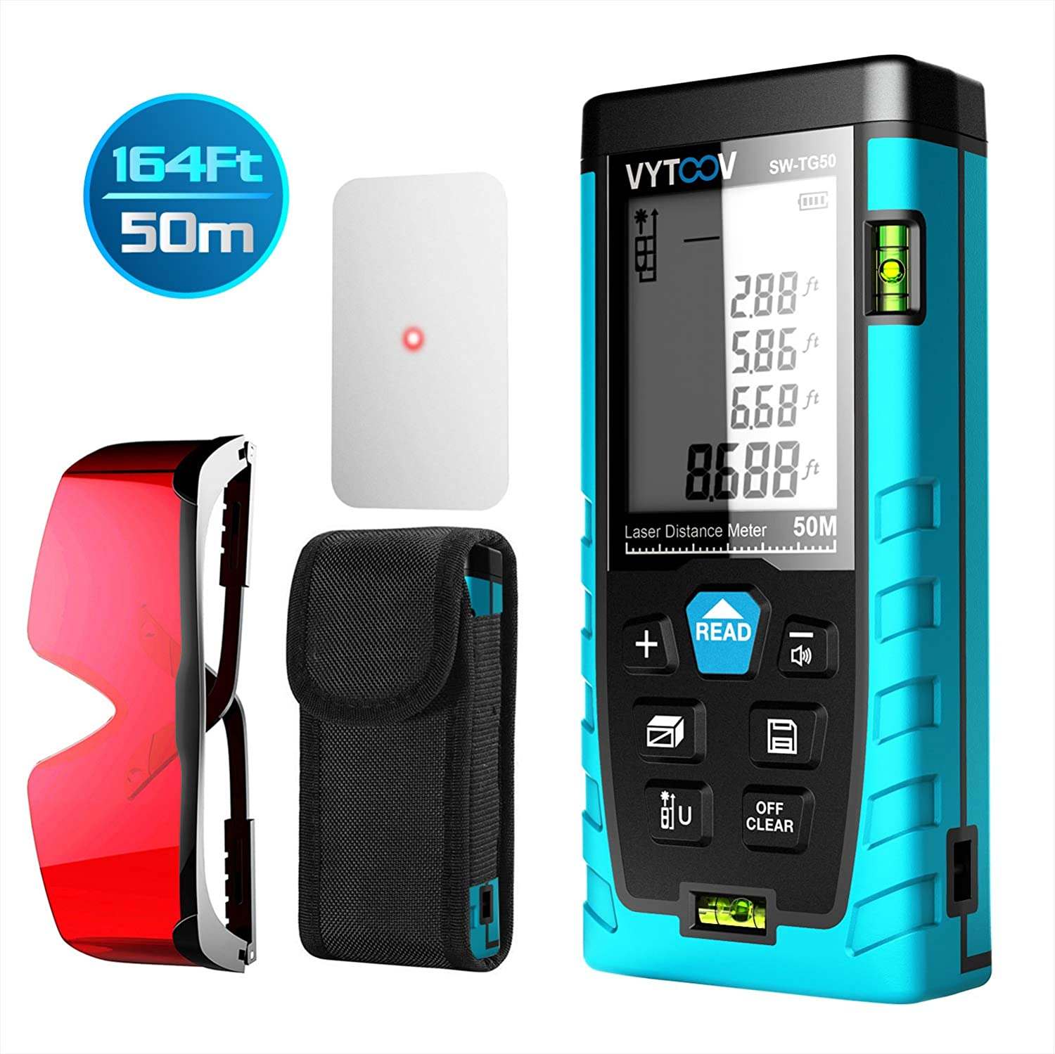 Laser Measuring Device with Pythagorean Mode Volume Calculation TG-50m 164FT//50M Measure Distance Area Laser Measure,VYTOOV Laser Tape Measure with Target Plate /& Enhancing Glasses