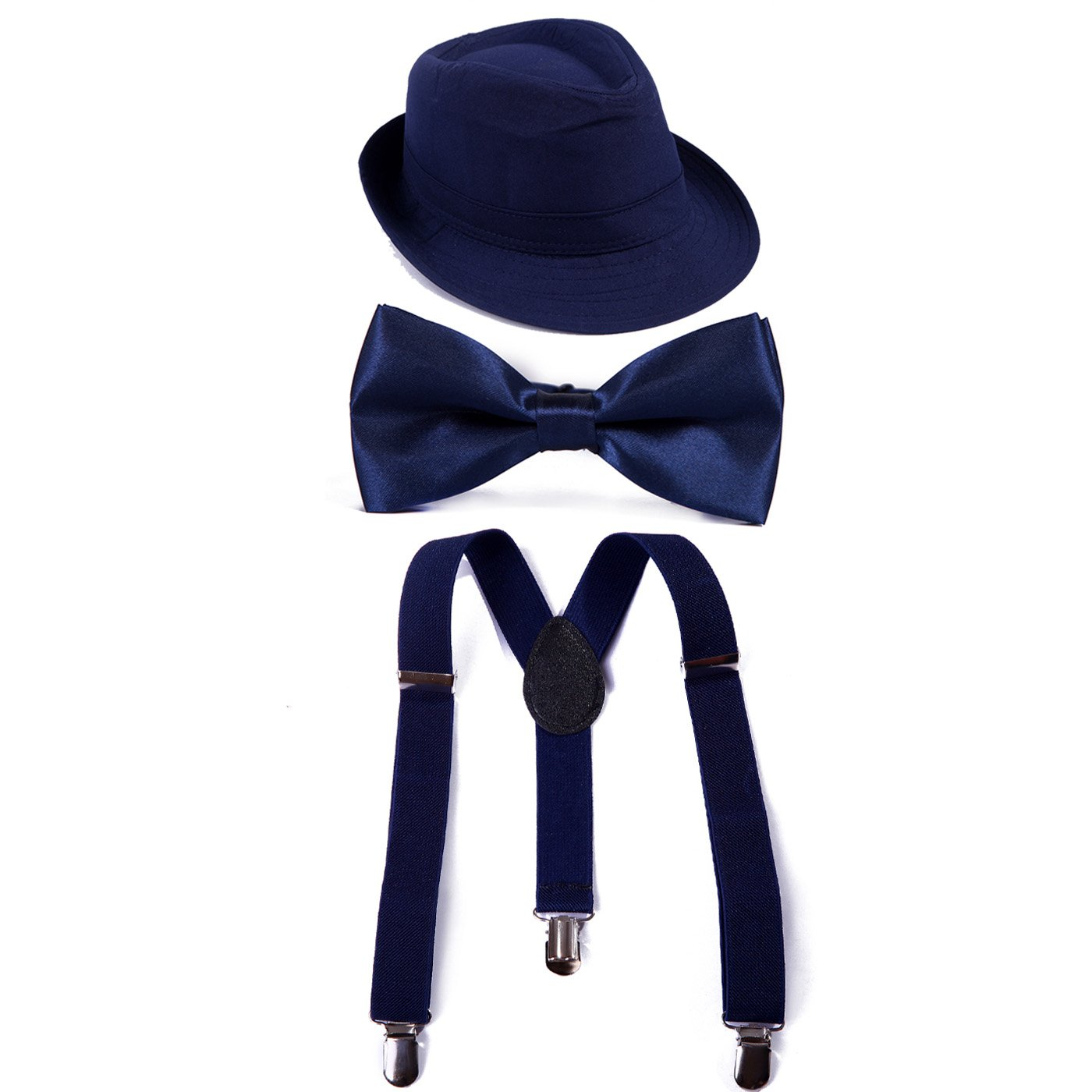 HDE Kid's Funky Design Solid Color Adjustable Elastic Clip Suspenders with Pre-tied Microfiber Neck Strap Bow tie and Short Brim Trilby Fedora Hat (Navy Blue)