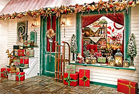 csfoto 10x7ft background christmas shop merry christmas decoration photography backdrop xmas store gift present christmas tree - Christmas Decoration Stores Near Me