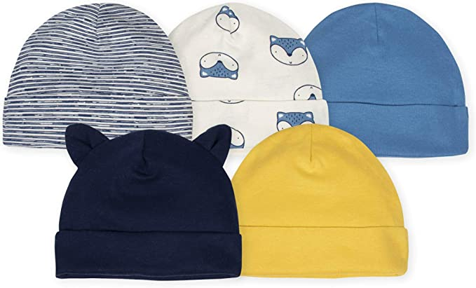 Gerber Baby Boys 3 Pack Organic Caps NEW Size 0-6 Months Hats