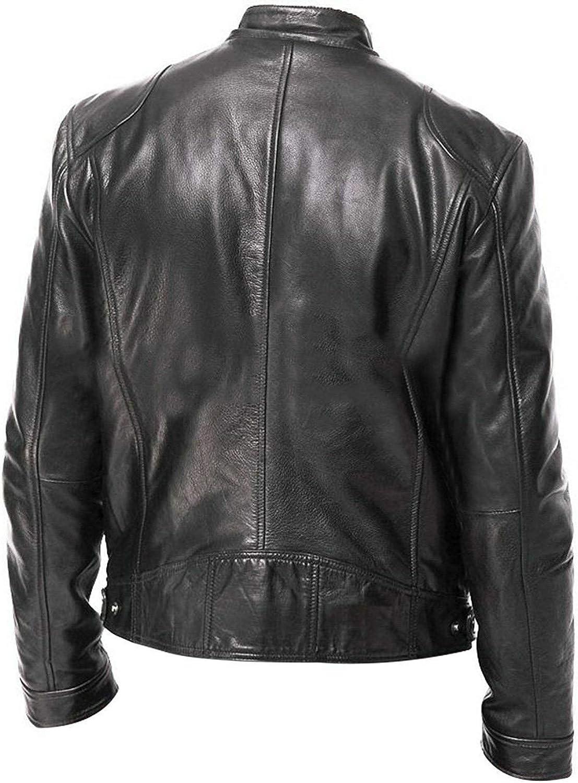 Bebling Veste de moto r/étro en cuir pour homme