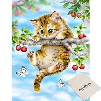 SunAndTree - Puzzle de 1000 Piezas, diseño de Gatos y cerezos: Amazon.es: Hogar