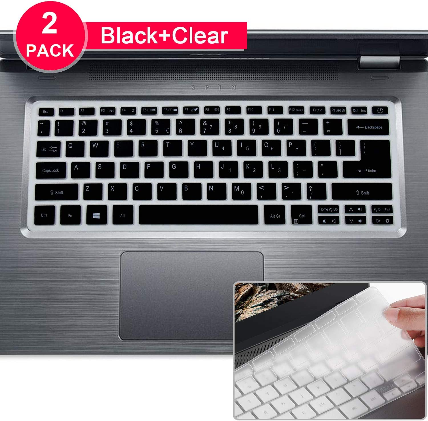 Lapogy[2Pcs]Keyboard Cover for Acer Spin 3 SP314 Series 14 inch&Swift 5 SF514 Series 14/15.6 inch&Swift 3 SF314 Series 14 inch,Ultra Thin Soft Silicone Protective Skin Keyboard Accessories,Black+Clear