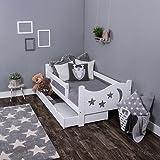 KAGU Chrisi Kinderbett Jugendbett Juniorbett Bett (140x70 cm oder 160x80 cm). Kiefernholz Massivholz inkl. Matratze und Schublade. Farbe:White, Größe: 140 x 70 cm