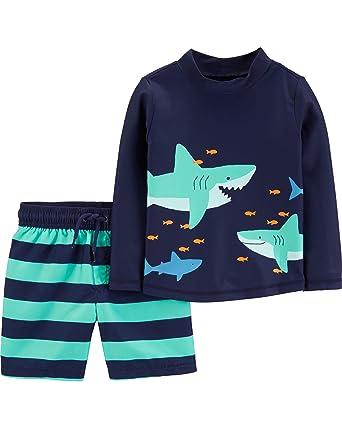 51aca21aa3 Child of Mine by Carters Long Sleeve Rash Guard 2-Piece Swim Set Blue Sharks
