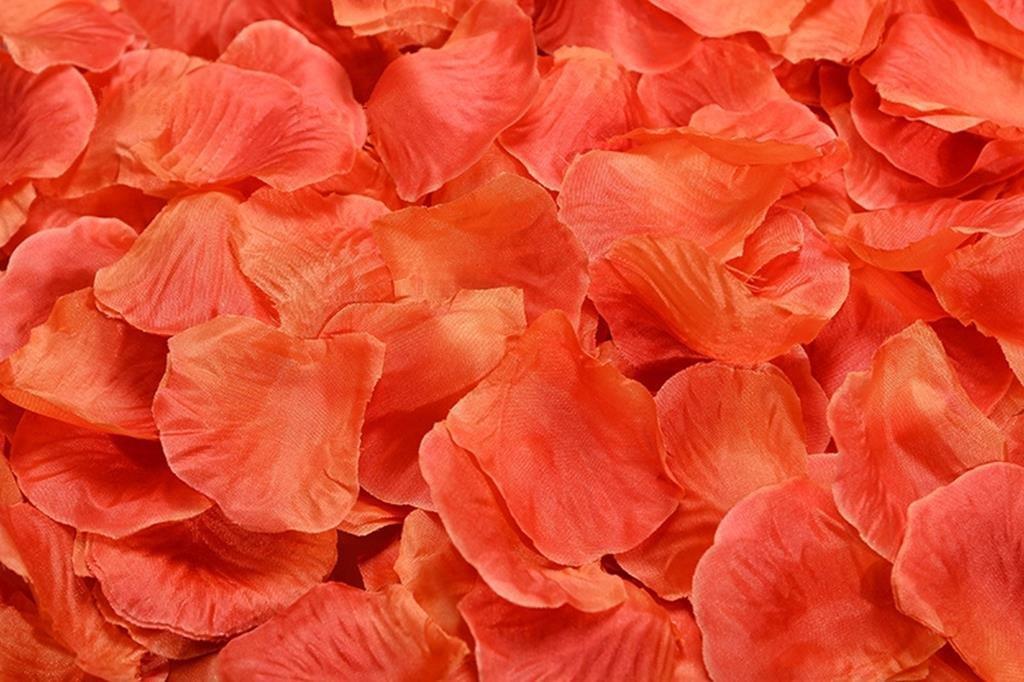 La Tartelette Silk Rose Petals Wedding Flower Decoration (2000 Pcs, Orange Red)