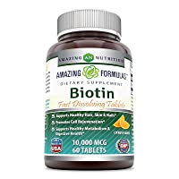 Amazing Formulas Biotin Fast Dissolving Tablets - 10000 MCG Tablets (Non-GMO,Gluten Free)-Supports Healthy Hair, Skin & Nails - Promotes Cell Rejuvenation - Supports Healthy (60 Count, Citrus Flavor)