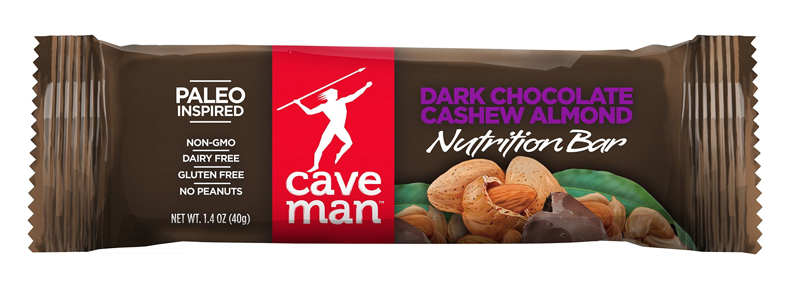 Caveman Foods Paleo-Friendly Nutrition Bar, Dark Chocolate Cashew Almond, 1.4 oz, (Pack of 15)