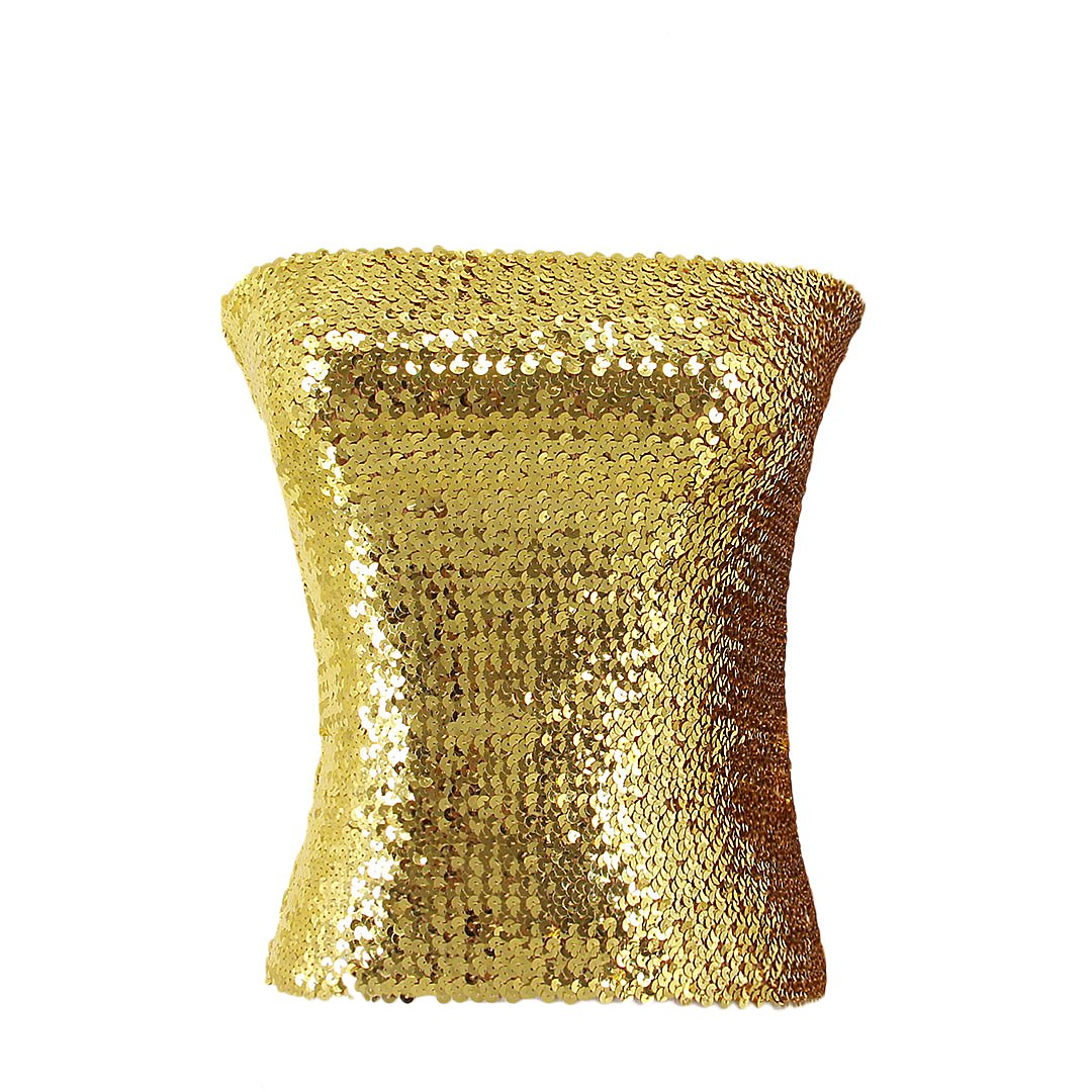Novia's Choice Women Shiny Sequins Stretch Tube Top Clubwear Strapless Long Vest(gold)