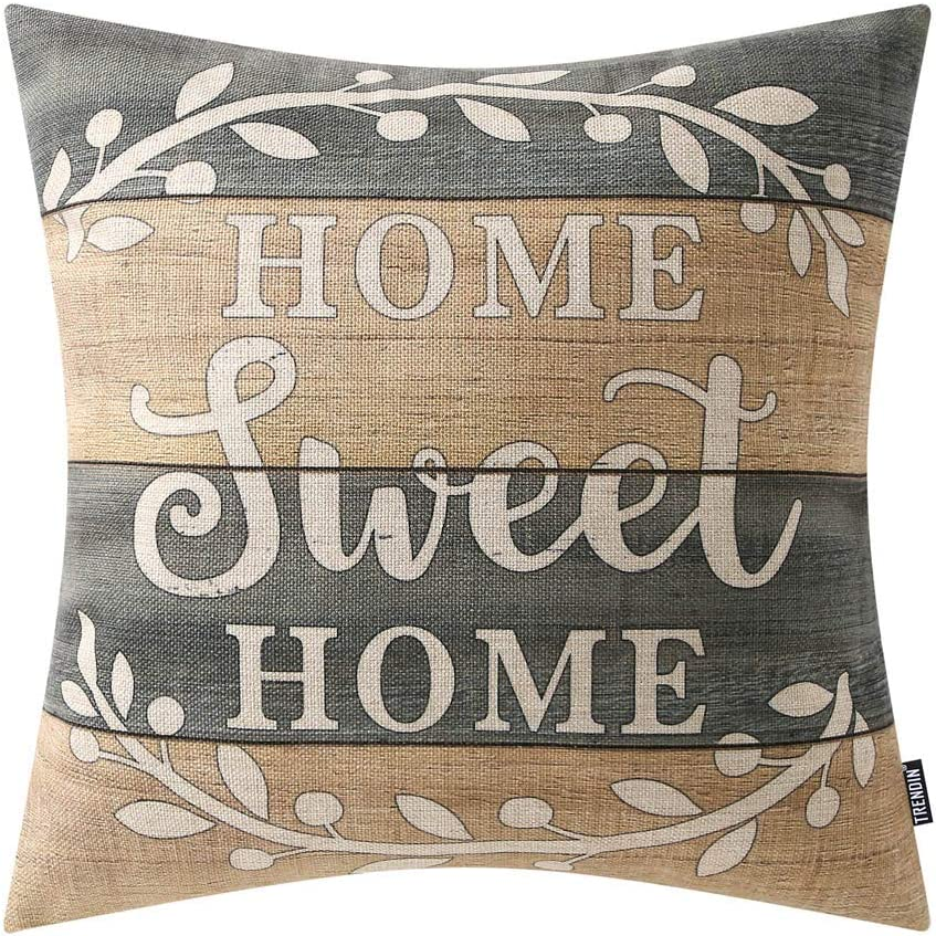 TRENDIN Decorative Throw Pillow Cover 18x18 inch Weathered Wood Home Sweet Home Cushion Case Square Shape PL280TR