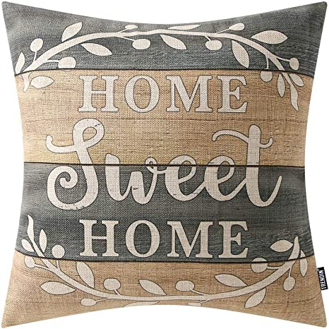 Trendin Decorative Throw Pillow Cover 18x18 Inch Weathered Wood Home Sweet Home Cushion Case Square Shape Pl280tr Home Kitchen