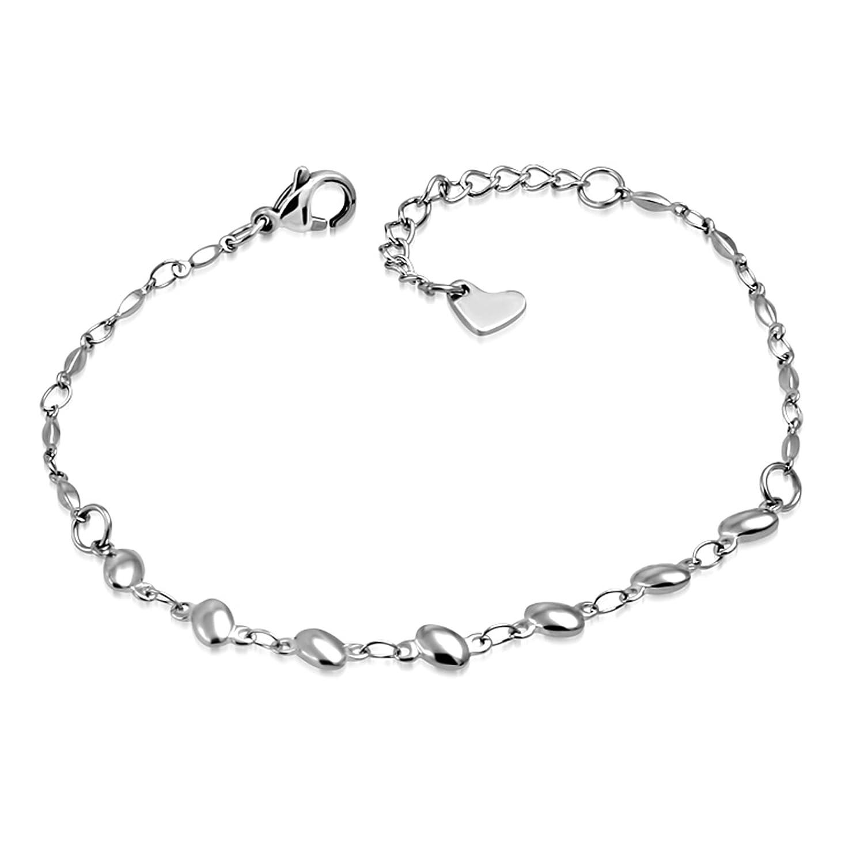 Pure316 Women's Oval Link Love Heart Charm Ext Chain Bracelet/ Anklet in 316L Stainless Steel - JK-ANK382 Leviev Ltd.