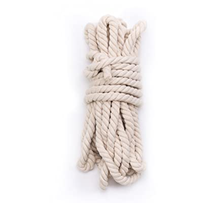 "Tosnail 33 Feet 5/8"" Natural Triple-Strand Twisted Cotton Rope : Garden & Outdoor"