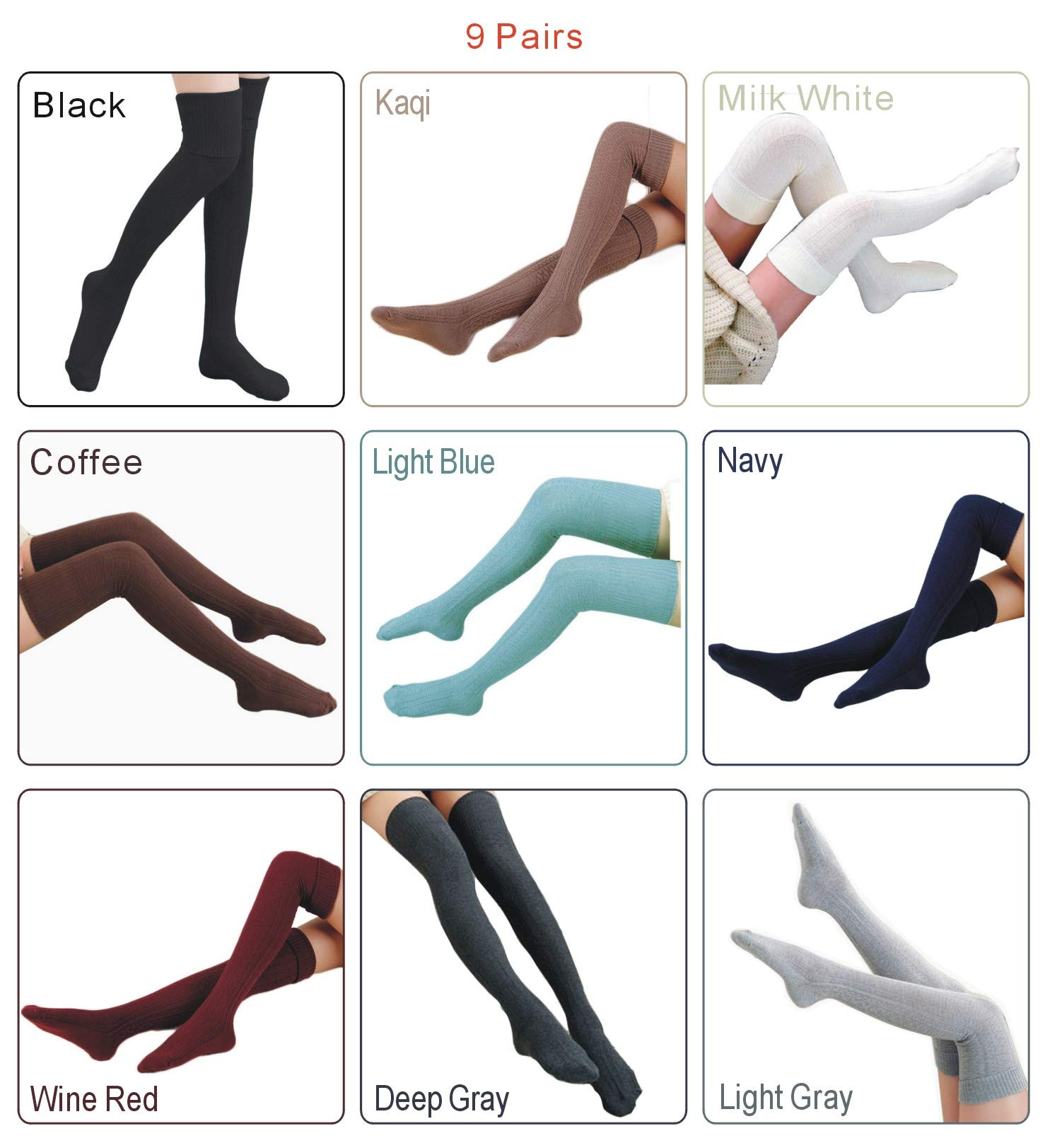 Over Knee Leg Warmer Crochet Thigh High Socks Crochet Long Socks Leg Warmer Leggings For Girls Womens (9 Pairs)