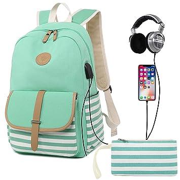 4a6754f08b51 Amazon.com   Bookbag for Women, Canvas Backpack Girls Stripe School ...
