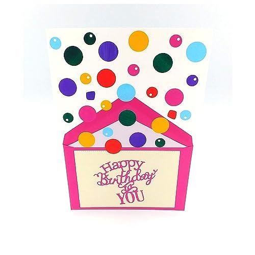 Carte Anniversaire Jet De Confettis Carte D Anniversaire Confettis Carte Anniversaire Enfant Carte D Anniversaire Fille Carte Joyeux Anniversaire Amazon Fr Handmade