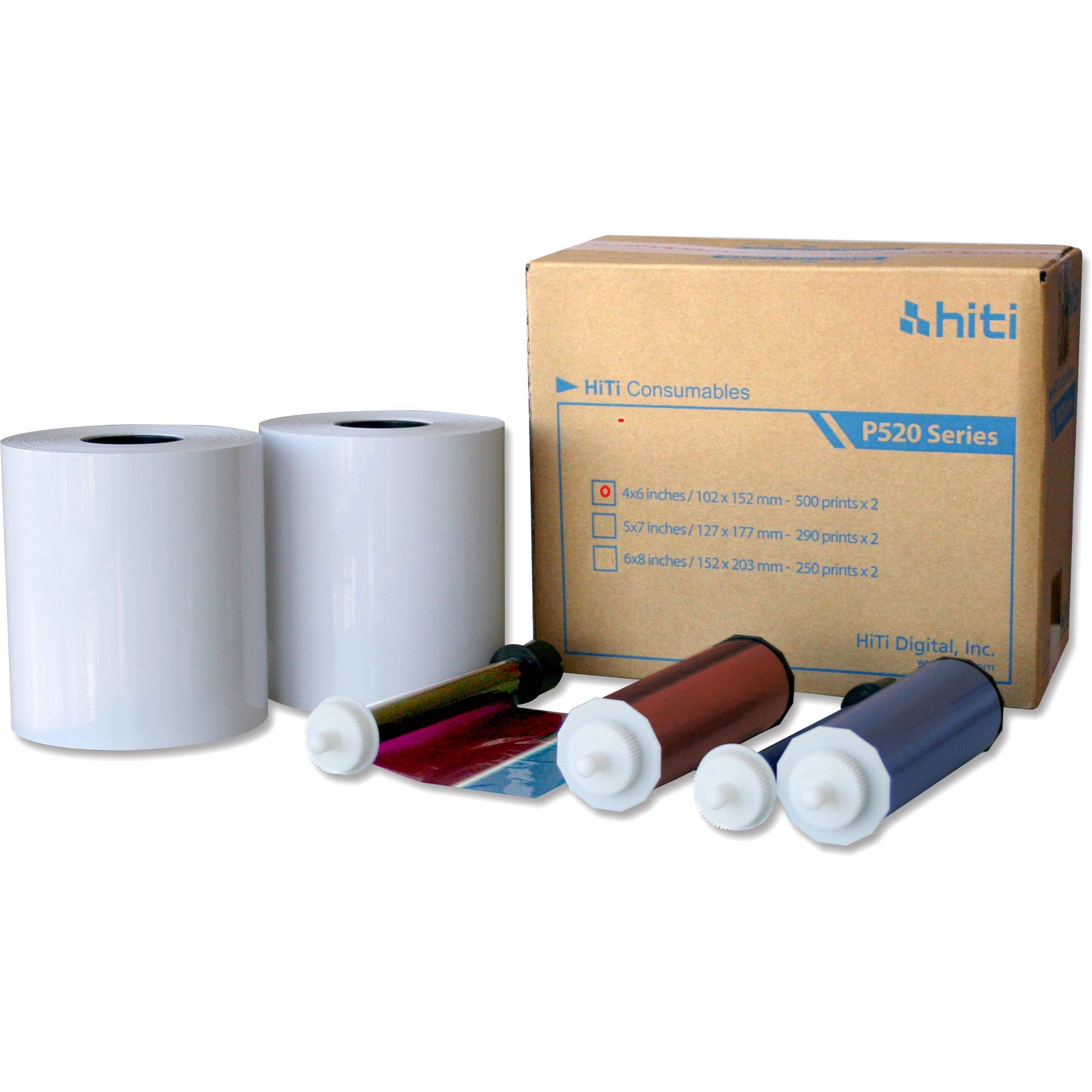"HiTi 4x6"" Media for Photo Printer P520 & P520L, 500 Sheets to a Roll, 2 Rolls in a Box, 152x102mm CPP $.097"