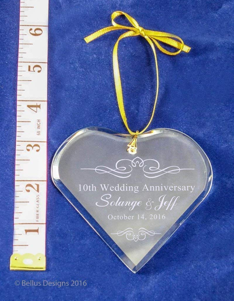 25th Silver Wedding Anniversary Simple Flourish Keepsake Crystal Heart Ornament Christmas Holiday gift with names, anniversary year and date - ANY Anniversary Year Available