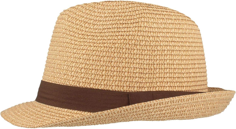 Hautfreundlich /& Bequem Flexibel Sonnenhut knautschbar mit einfarbiger Ripsband-Garnitur Strohhut Trilby Sommerhut Besonders Leicht
