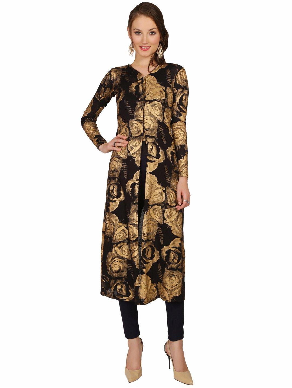 Ira Soleil Black printed viscose Knit stretch women long Jacket,Black,XXL