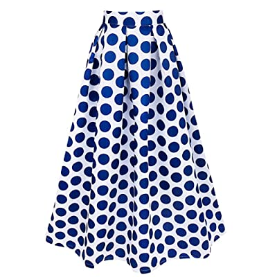 IEFIEL Maxifalda Plisada de Cintura Alta Faldas Largas Elegantes Lunares Grandes para Mujer: Ropa y accesorios