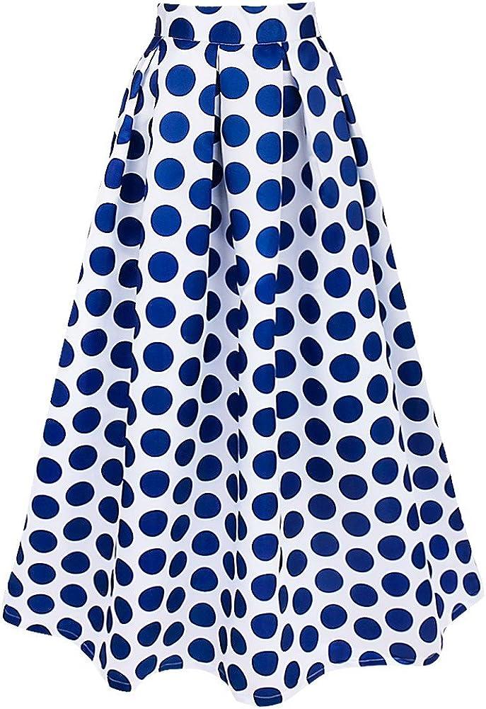 MSemis Faldas Largas Vintage para Mujer Falda Plisada con Vuelo ...