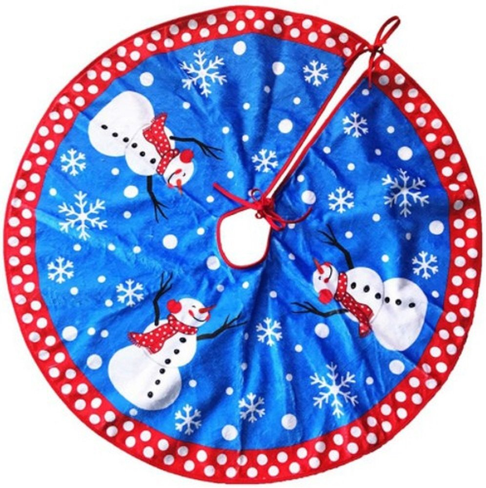 Vegang Christmas Tree Skirts Snowflakes and Snowman Indoor Outdoor Cute Floor Mat Carpet(Blue, 31.5inch)