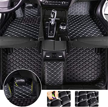 Custom Car Floor Mats for Lexus NX 2015-2018 Leather Custom Fit All-Weather Protection Floor Liners Waterproof Foot Pad Carpets Black-red