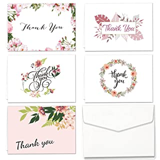 Carte di ringraziamento Set di 30 Scheda di Scheda PCS assortiti con 5 disegni floreali Cartolina d'auguri vuota e 30 Adesivo Bianco LORTAL