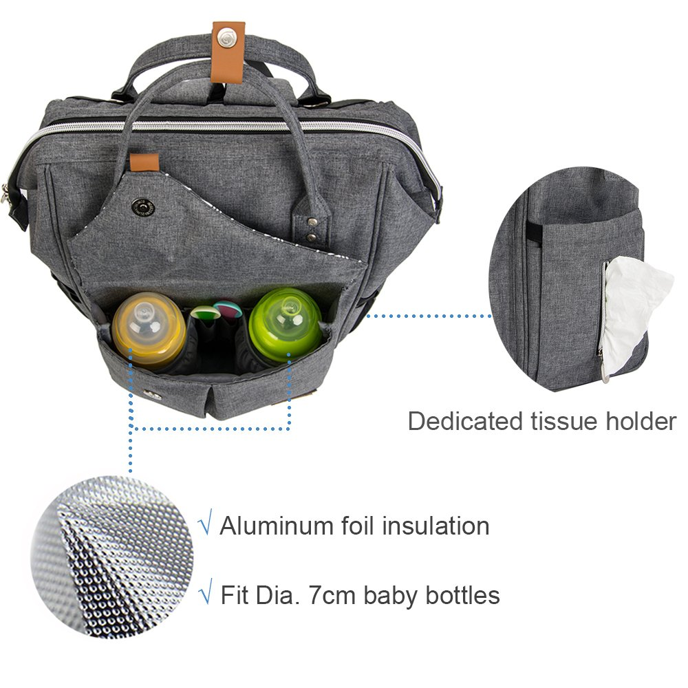 3d8dd6ada7 Amazon.com : Lekebaby Large Diaper Bag Backpack for Mom in Grey with Arrow  Print : Baby
