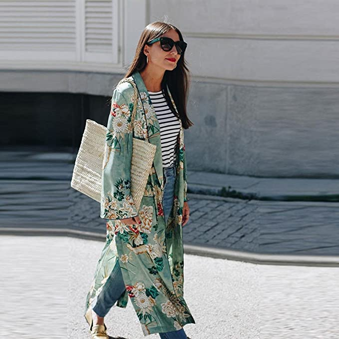 DEELIN Bohemia Floral Borla De Mujer Kimono Largo Chal De Gran TamañO Blusas Chaqueta: Amazon.es: Ropa y accesorios