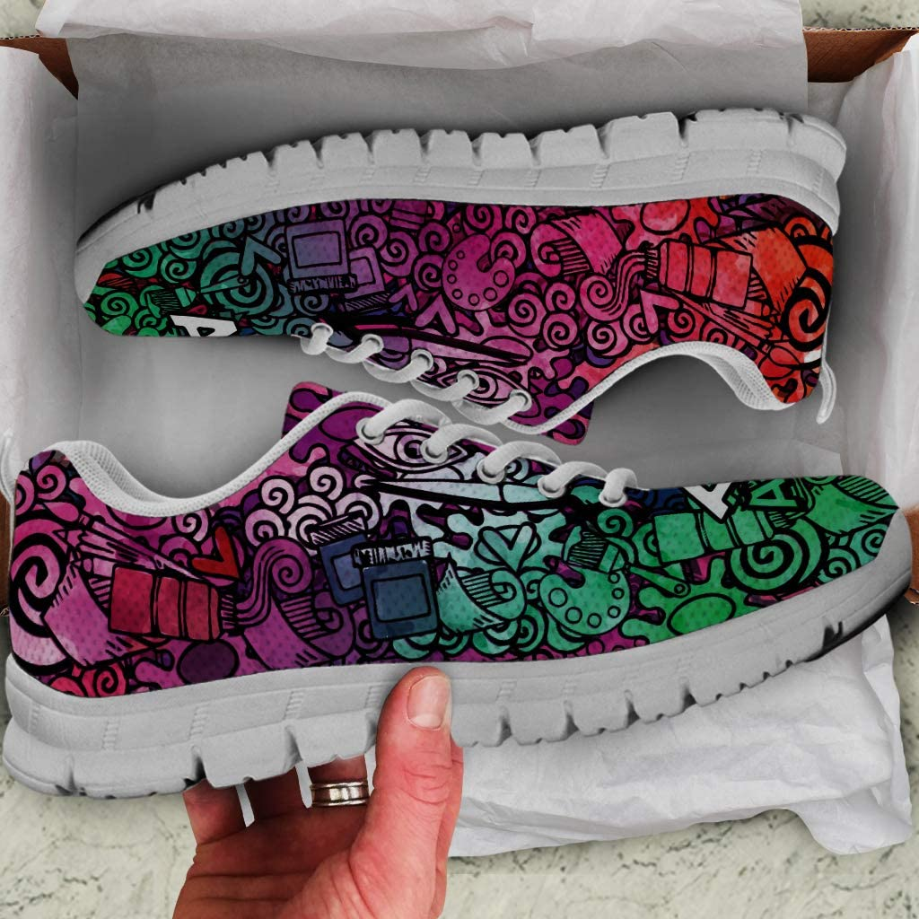 Footwear by Chelsydale Graphic Artist Gifts Men Sneakers Running Shoes Wh