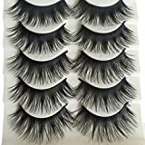 Bluelans® 5 Pairs Natural Long Fake Eye Lashes Thick False Eyelashes Black Makeup Tool