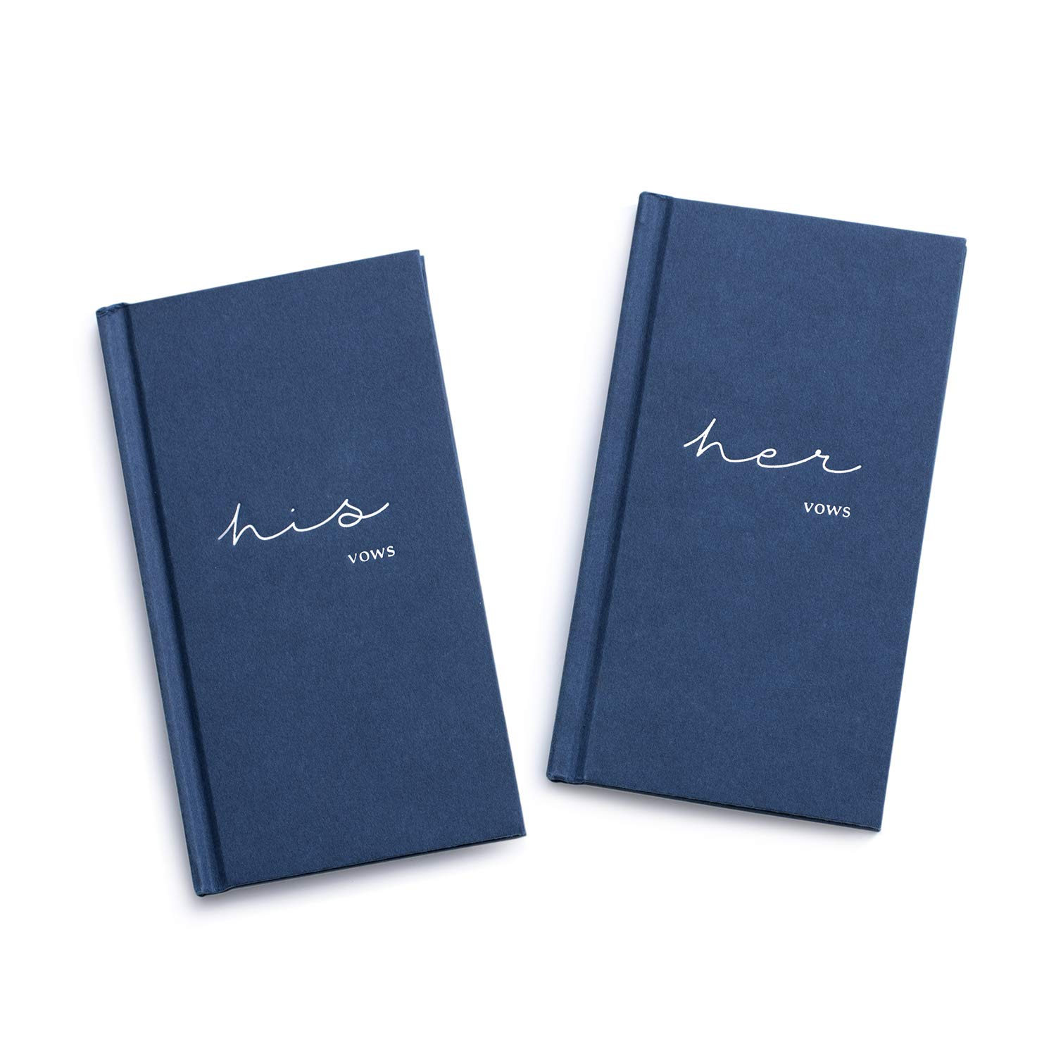 Ling's moment Hardcover Vow Books His and Hers Wedding Vow Books Wedding Keepsake Wedding Journal(Navy Blue)