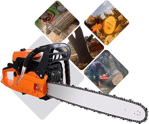 COOCHEER motosierra térmica 61 cm³ Potencia 2.8 KW motosierra a gasolina Guide 51 cm sierra de cadena a gasolina: Amazon.es: Jardín