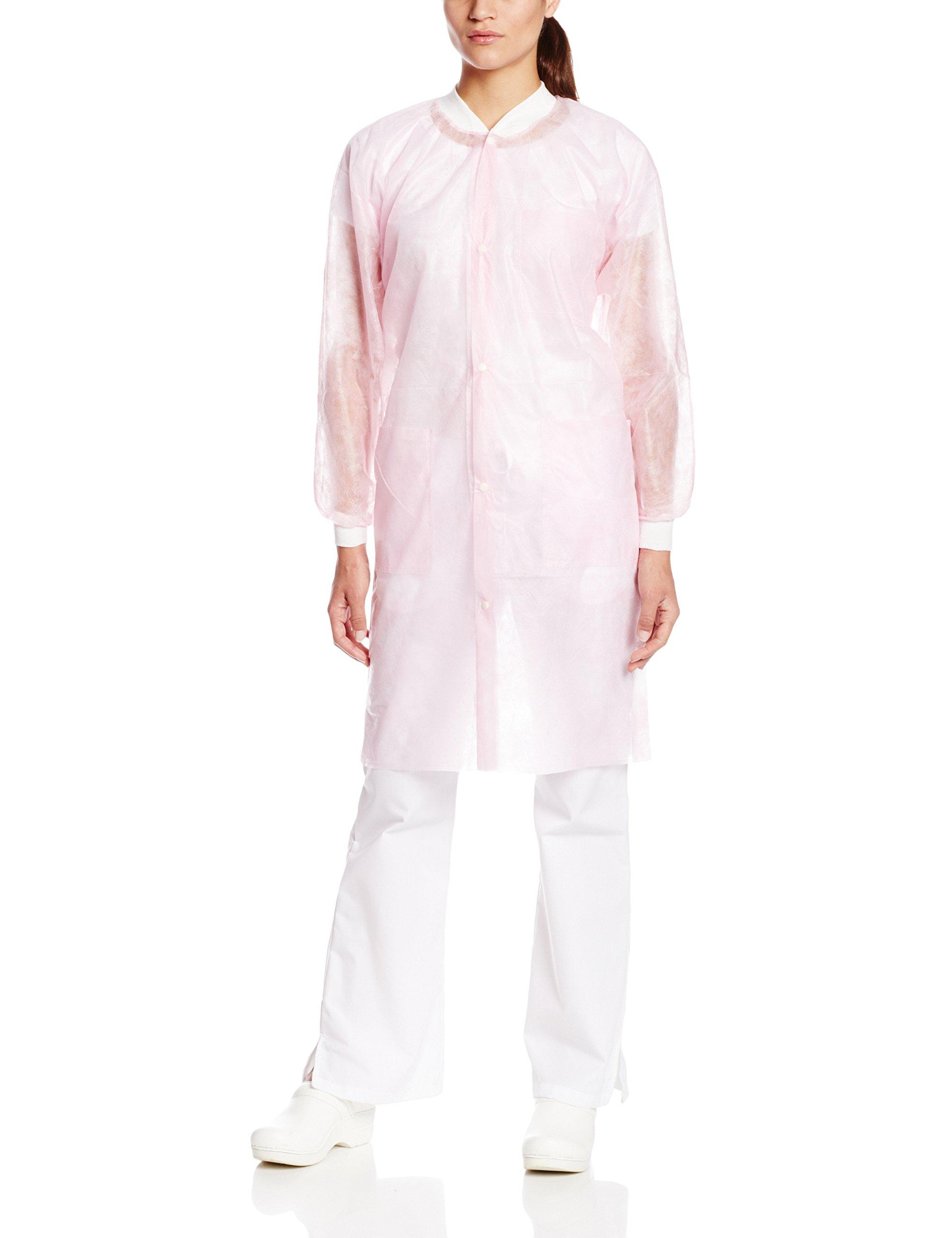ValuMax 3290LPS Money-Saver, Disposable Isolation Knee Length Lab Coat, Splash Resistant,Light Pink, S, Pack of 10