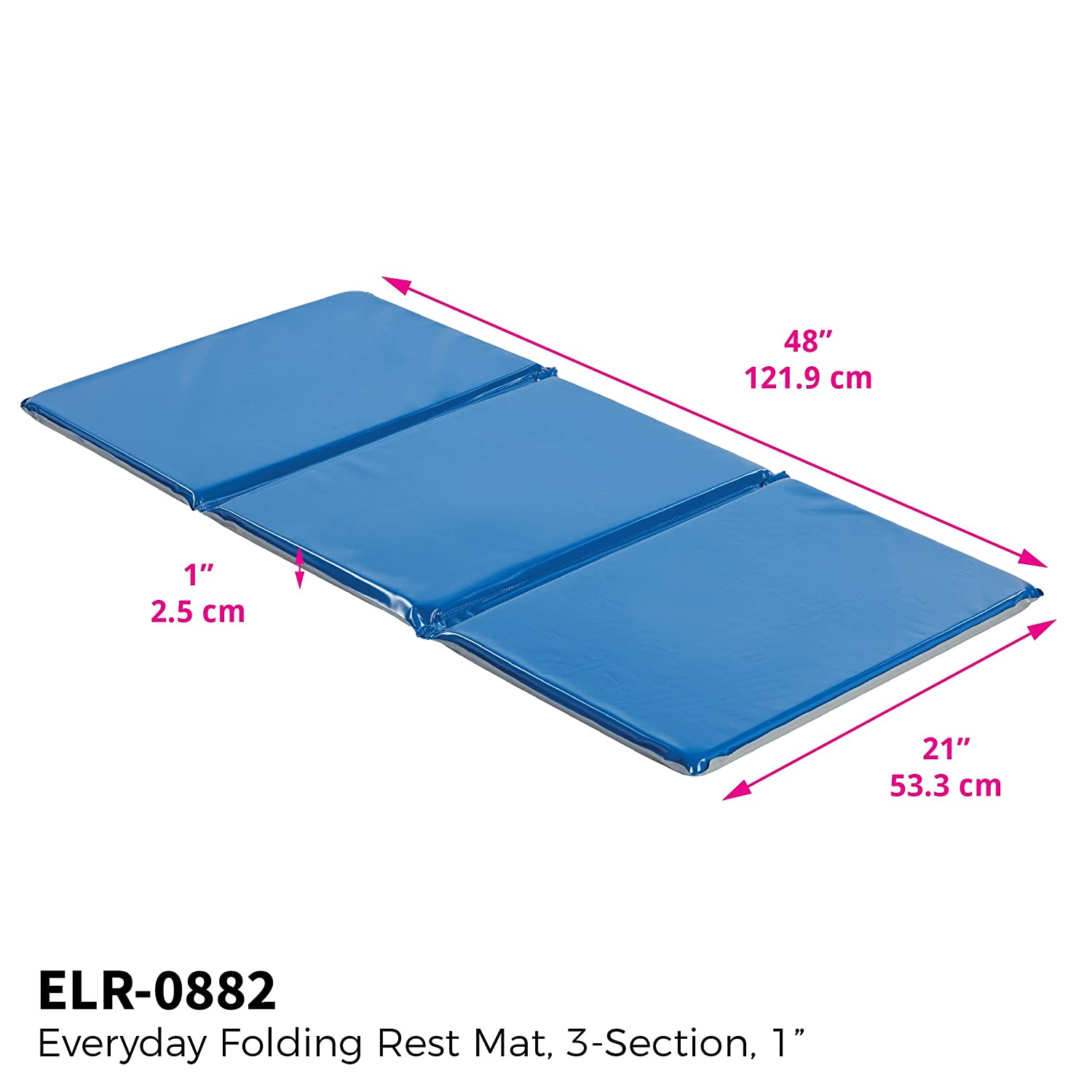 ECR4Kids Everyday 3-Fold Daycare Rest Mat, Folding Rest Mat, Sanitary Design, Low Maintenance, Certified and Safe, No Assembly Required, 1 Thick, 5-Pack, Blue and Grey