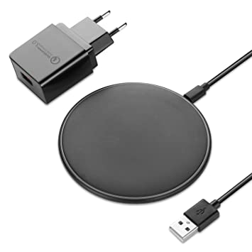 NEXGADGET Cargador Inalámbrico Rápido, Qi Wireless Quick Charger, Carga Rápida 10W,Incluye Adaptador y Cable USB, para iPhone X / 8/8 Plus Galaxy S9 / ...