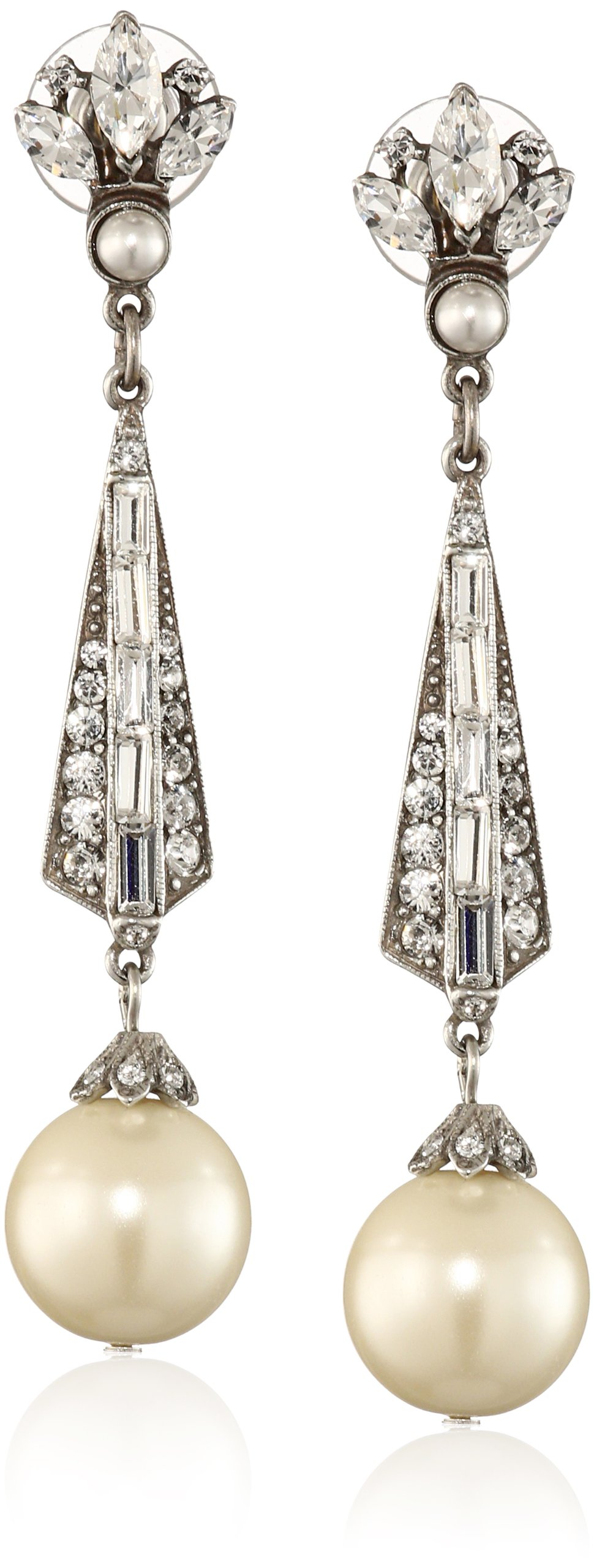 Ben-Amun Jewelry Swarovski Crystal and Glass Pearl Drop Earrings for Bridal Wedding Anniversary