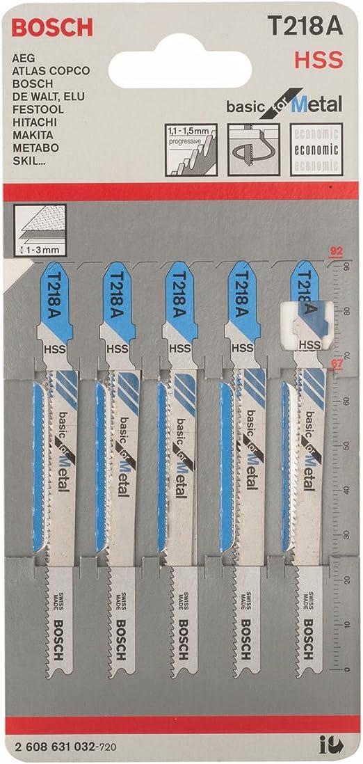 longueur 70 mm Bosch U18A Lot de 2 lames de scie sauteuse pour m/étal HSS tige U