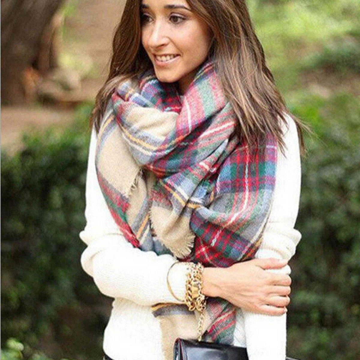 Tongshi Abrigo de la bufanda del mantón de la tela escocesa de Cozy Chequeado Mujeres Señora Manta Tartán de gran tamaño: Amazon.es: Bebé